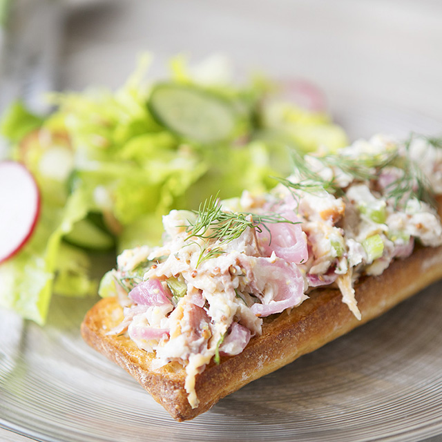 Smoked Trout Tartines with Romaine, Cucumber, and Radish Salad by Blue Apron