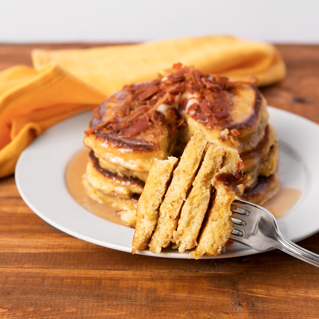 Cornbread Pancakes with Maple Glaze