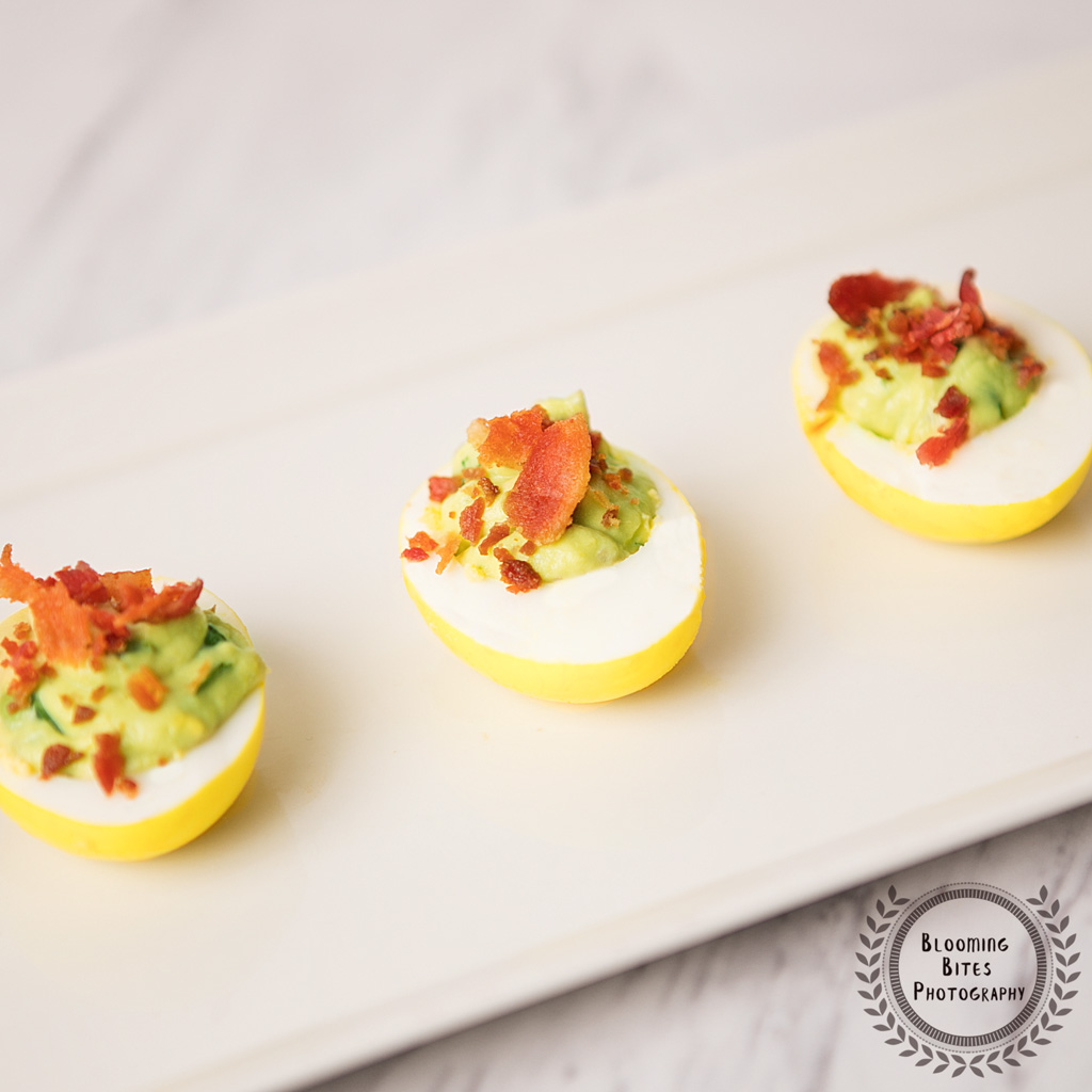 Deviled Eggs With Avocado Filling & Bacon