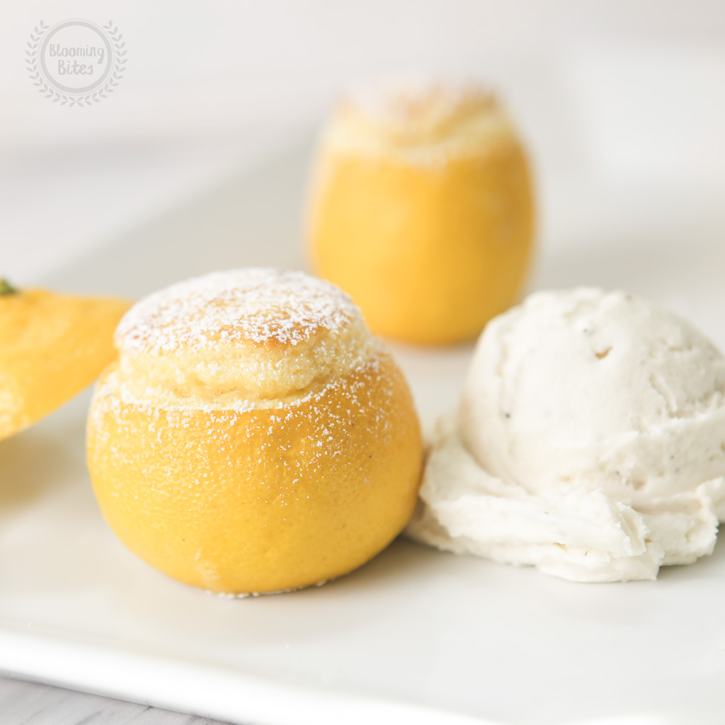 Mini Lemon Souffle's & Homemade Vanilla Bean Ice-cream
