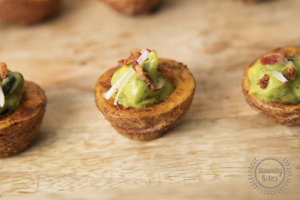 Roasted Potato Cups with Guacamole and Bacon