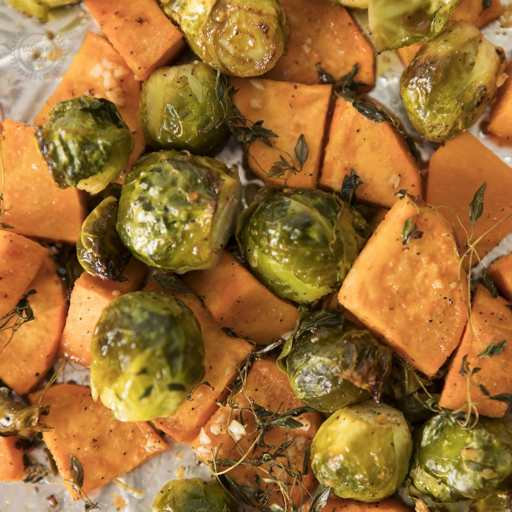 Roasted Sweet Potatoes and Brussel Sprouts