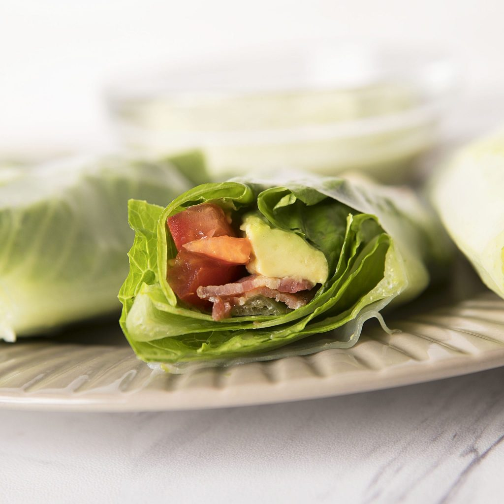 BLT Summer Rolls with an Avocado Mint Dipping Sauce