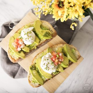 poached eggs and pickled avocado toast