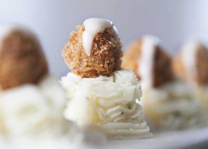 Fried Meatballs & Mashed Potatoes