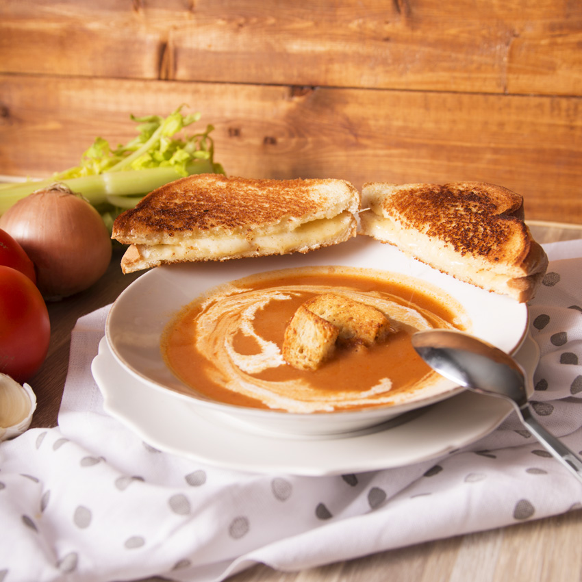 Tomato Soup with a Grilled Cheese
