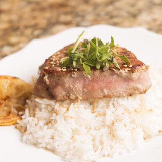 Tuna Steak with a Lemon Butter Garlic Sauce