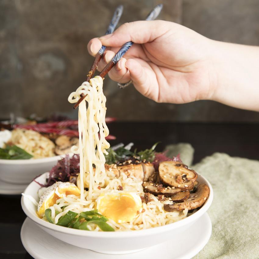 Chicken and Mushroom Ramen Bowls